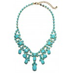 Aquamarine Stone Cluster Statement Bib Necklace