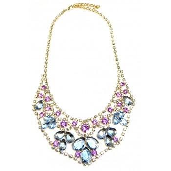 Delicate Pastel Crystal Teardrop Statement Bib Necklace