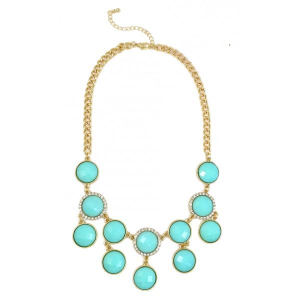 Aqua Bubble Dots Crystal Encrusted Statement Bib Necklace