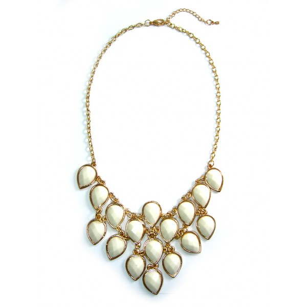 Cream Faceted Teardrop Triangle Bib Statement Necklace