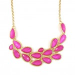 Opalline Pink Teardrop Cluster GemStone Bib Necklace