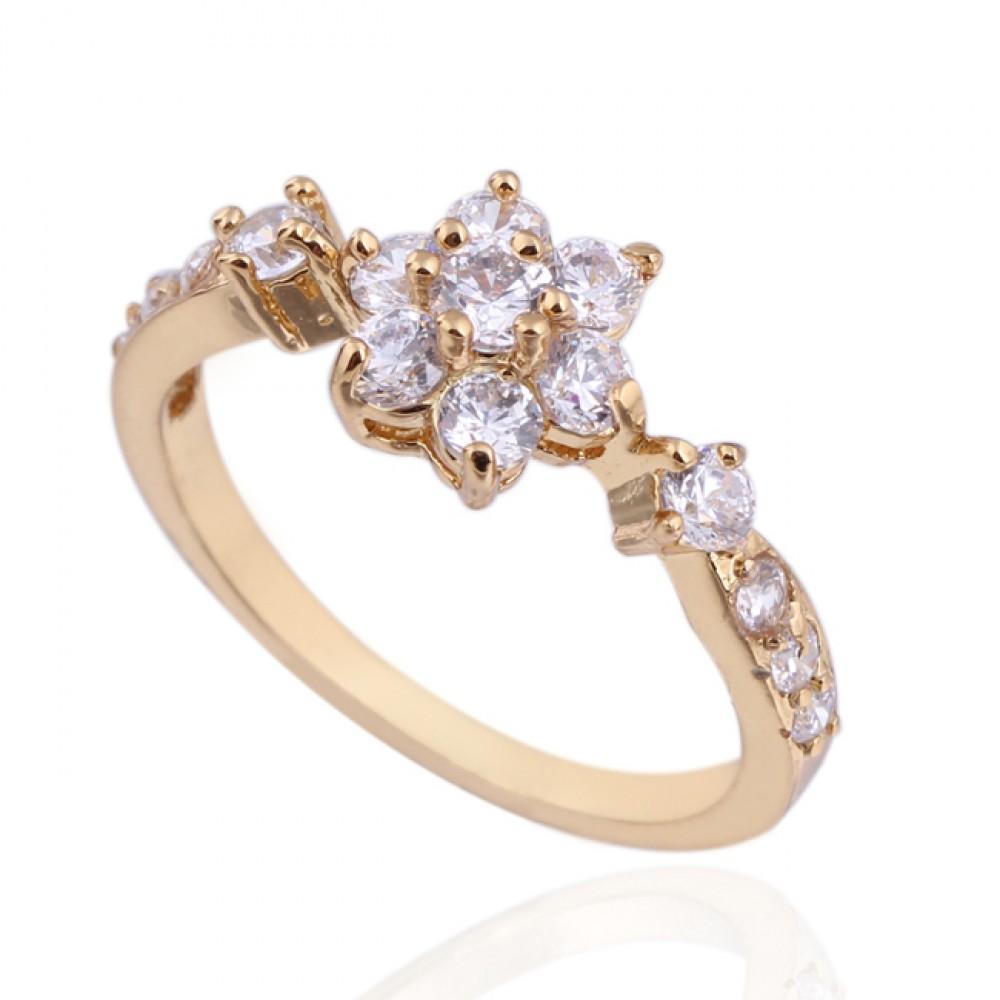 Wisteria Elegant Crystal Flower Cubic Zirconia Ring