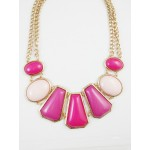 Valentina Ombre Fuchsia Pink Geometric Stones Statement Necklace