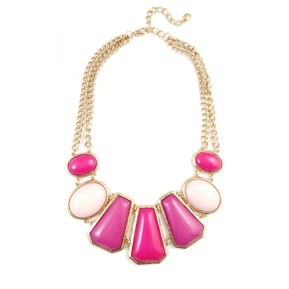 Ombre Fuchsia Pink Geometric Stones Statement Necklace