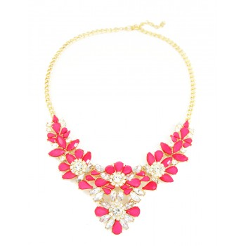 Amaryllis Hot Pink Stone Flower Crystal Statement Necklace