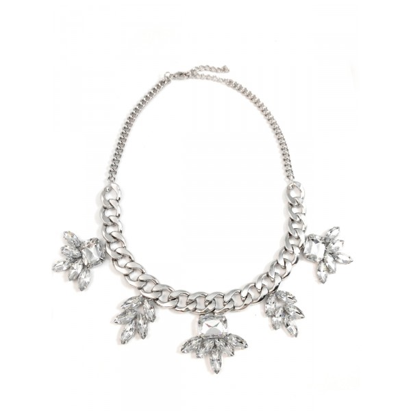 Anastasia Crystal Floral Stone Silver Toned Chain Statement Necklace