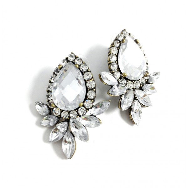 Angelion Crystal Marquise Statement Stud Earrings