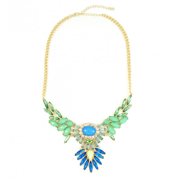 Icarus Wing Pastel Gems Encrusted Statement Necklace