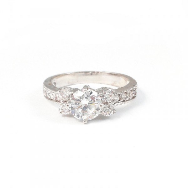 Beaufort Crystal Cluster Cubic Zirconia Engagement Wedding Ring
