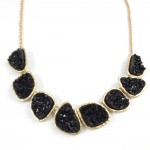 Black Druzy Stone Short Necklace