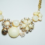 'Antheia' Ivory Flowers and Cabochon Clusters Statement Necklace