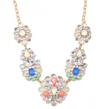 'Frostine' Pastels and Crystals Flower Bouquet Necklace