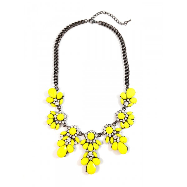 Flora Neon Yellow Statement Necklace (Back in Stock)