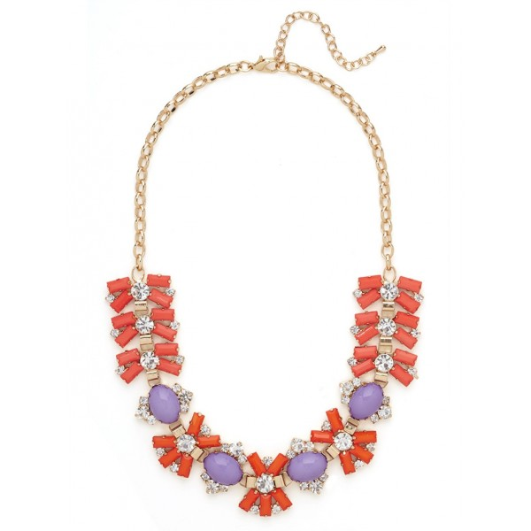 Giselle Coral Firework Stone Statement Bib Necklace
