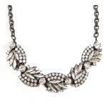 Edgy Spiked Crystal Collage Gunmetal Statement Necklace