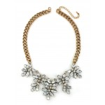 Fiona Crystal Fern Antique Gold Necklace