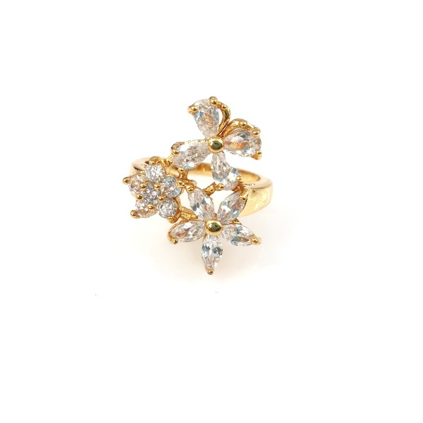 Ice Flower Crystal Cubic Zirconia 18k Gold Plated Ring