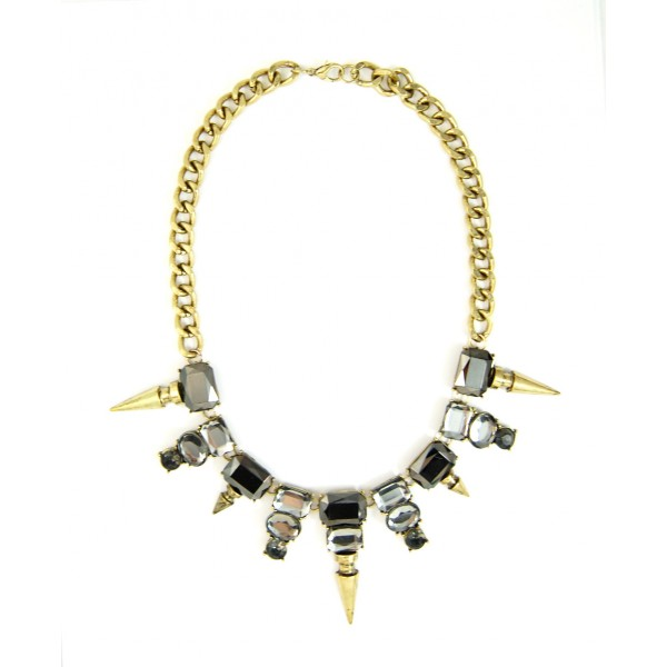 Edgy Faceted Smoky Stone Spike Vintage Statement Necklace