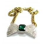Retro Emerald Green Stone Crystal Bow Pendant Necklace