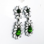 Emerald Fern Dripping Crystal CZ Gunmetal Statement Drop Stud Earrings