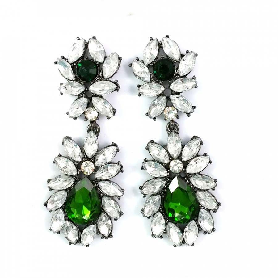 deepa lyst gurnani gunmetal jewelry gallery ert earrings in metallic erte
