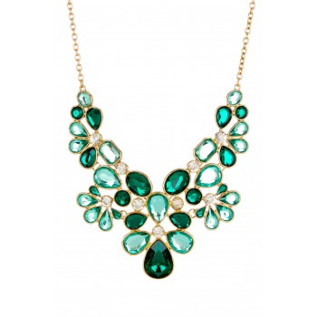 Vishnu Emerald Mix Stone Crystal Glam Statement Bib Necklace