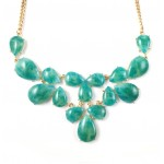 Emerald Marbled Teardrop Cluster Statement Bib Necklace