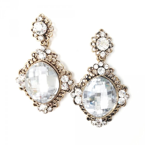 Clear Crystal Gemstone Drop Statement Bridal Earrings