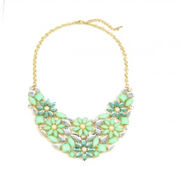 Frosty Mint Flower Cluster Bridal Statement Necklace