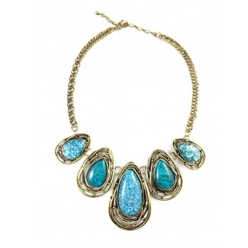 Marbled Teal Teardrop Wired Stones Statement Necklace