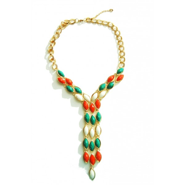Tie Facet Stone Statement Necklace