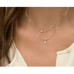 Lucky Horseshoe Charm CZ Crystal Layer Dainty Minimalist Necklace