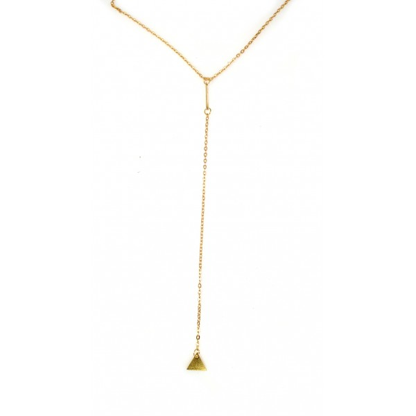 Lariat Triangle Gold Dainty Minimalist 18k Handcrafted Necklace