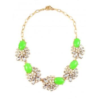'Gardenia' Crystal Cabochon Blooms Necklace