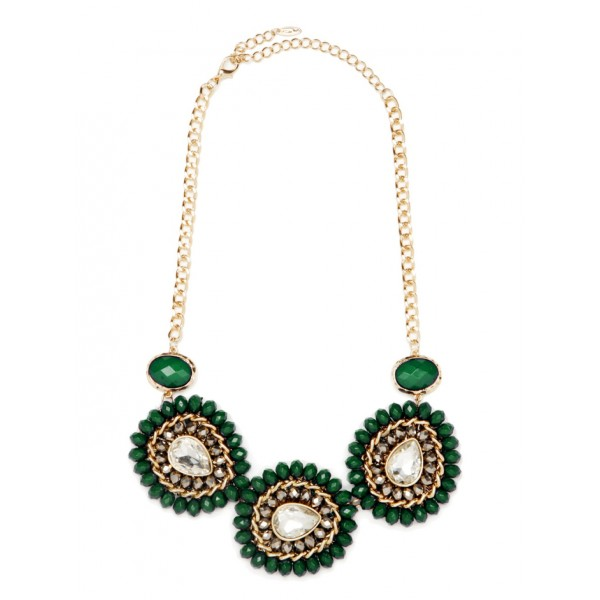 Jeska Forest Green Beaded Bloom Necklace