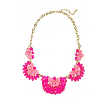 Leonie Neon Pink Half Flower Statement Necklace