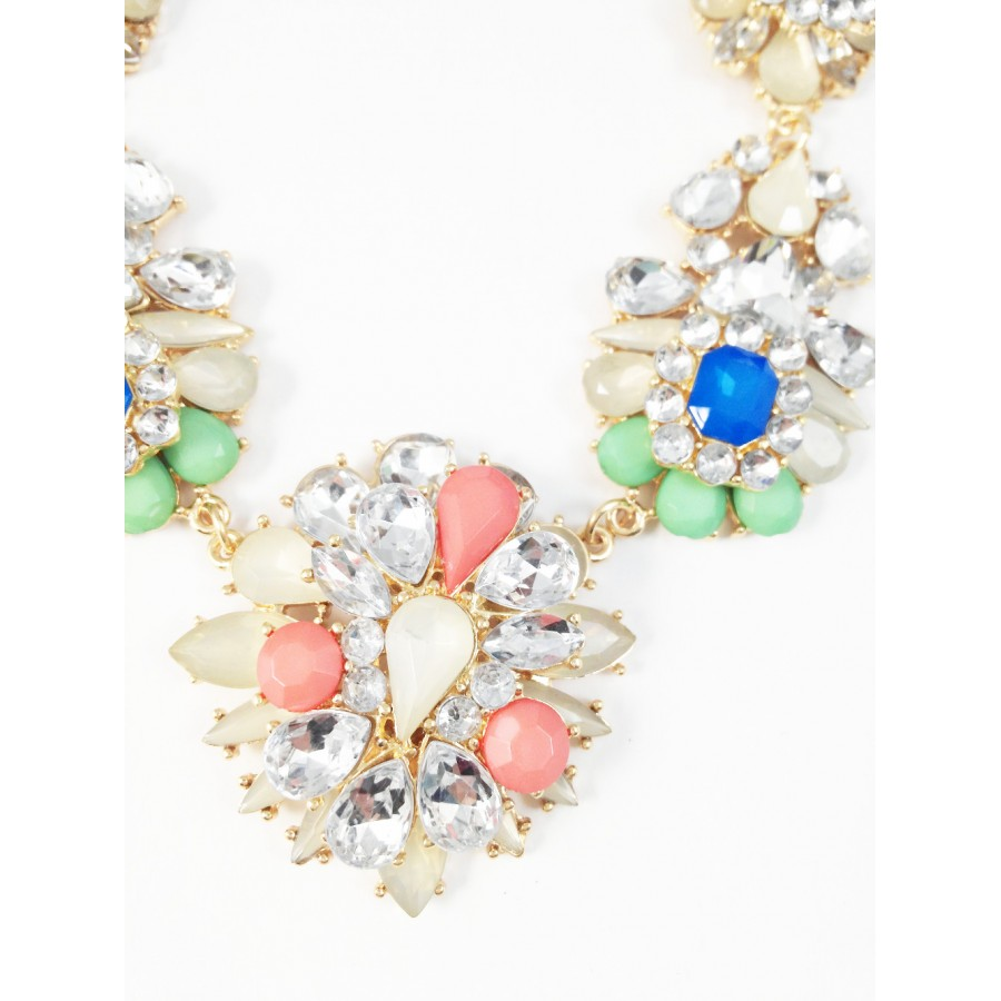 Champaign Flower Bouquet Crystal Clusters Bridal Statement Necklace