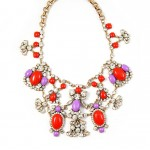 Imara Color-blocked Floral Bloom Crystal Net Bib Necklace
