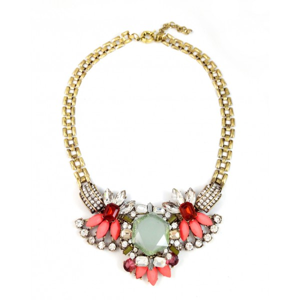 Lotus Geo Crystal Stone Statement Necklace