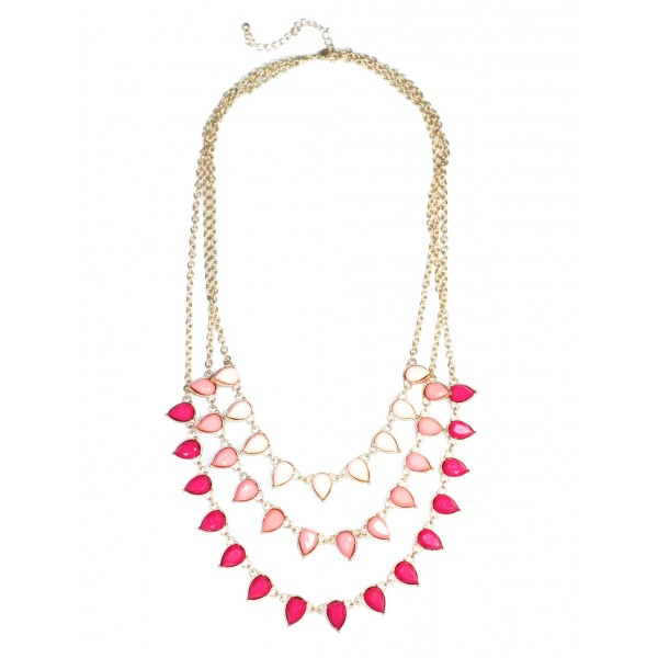 Zohara Ombre Pink Teardrop Tiered Necklace