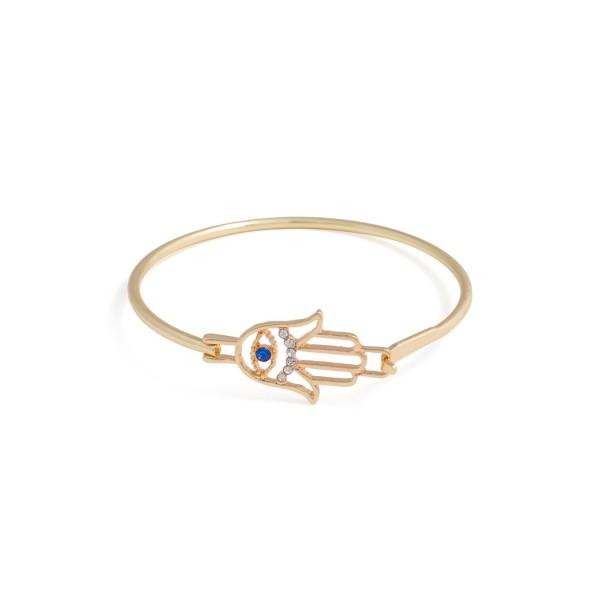Hamsa Sapphire Stone Evil Eve Crystal Pave Gold Toned Bracelet