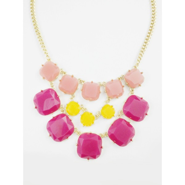 Josephine Yellow Burgundy Bauble Statement Necklace