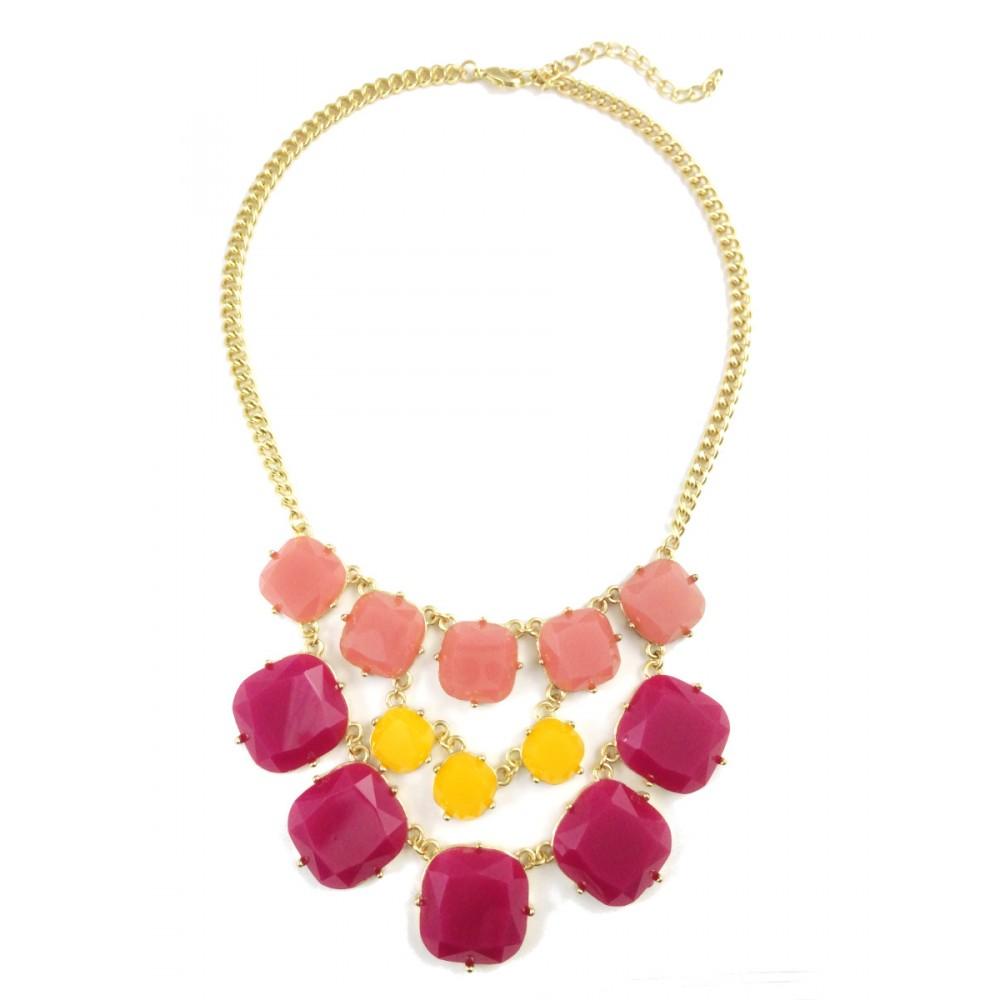 josephine yellow burgundy bauble statement necklace