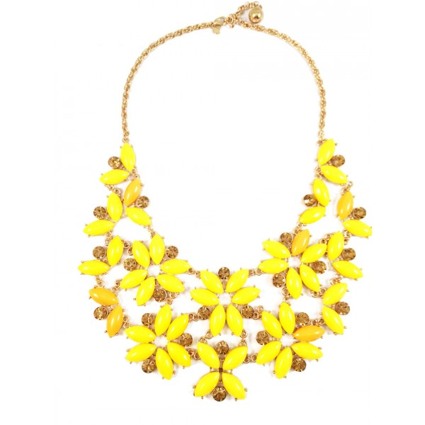 Enchanted Garden Yellow Floral Statement Bib Necklace