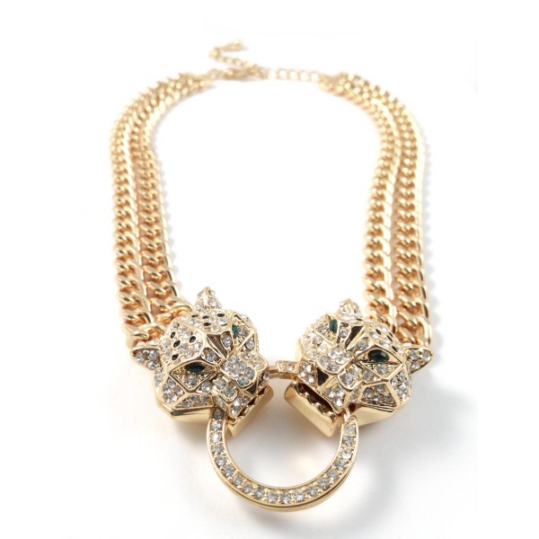 Leopard Head Duo Crystal Paved Statement Chunky Gold Necklace