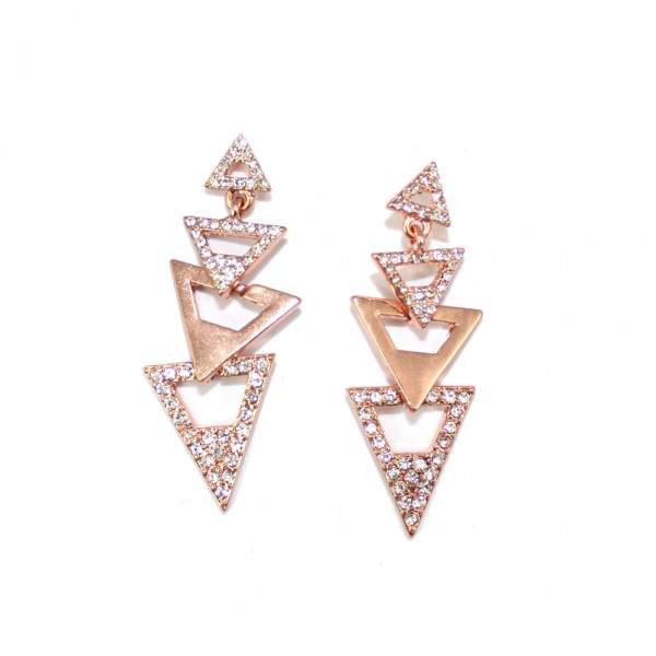 Catalina Pave Rose Gold Triangles Dangle Statement Earrings