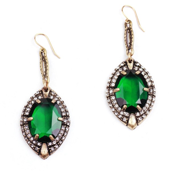 Absinthe Emerald Pave Crystal Stone Statement Drop Earrings