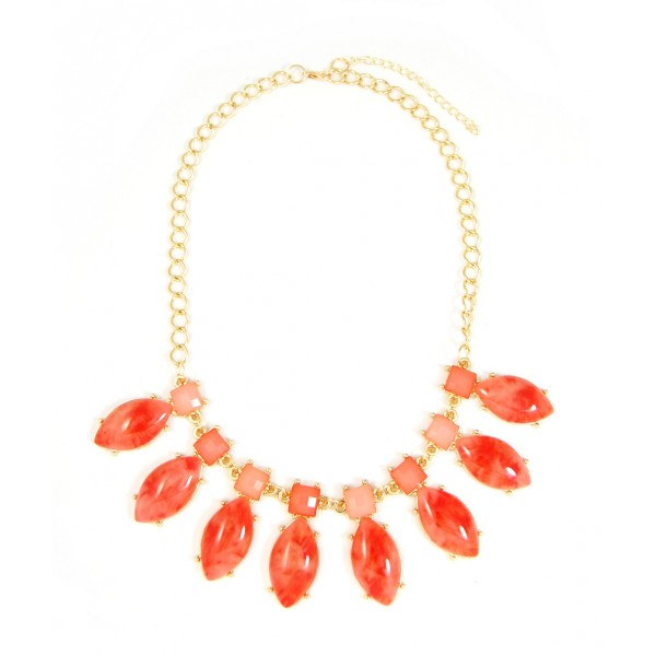 Polished Marbled Red Lucite Gemstone Statement Necklace