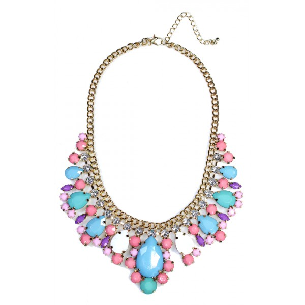 Multicolored Pastels Teardrop Gems Bib Necklace