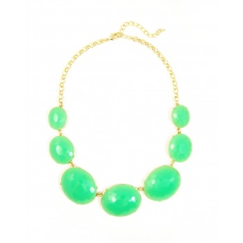 Mint Oval Faceted Gemstone Station Statement Necklace